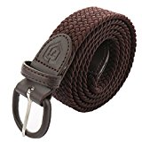 Unisex Elastic Braided Belt, No Hole Fabric Woven Stretch Belt with Exquisite Gift Box - All-match, Comfortable, Honorable (M, Brown)