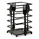 Upright Utensil Holder - Black Metal with Classic, Timeless Design - Store Cutlery and Utensils for Parties or Everyday Use