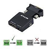 VGA-to-HDMI Adapters, AMALINK Stereo R/L channel 5V1A VGA + AUDIO to HD Converter for HDTV In Black