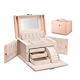 Vlando Faux Leather Jewelry Box Organizer, Vintage Gift Case with 6 Colors Avaliable (Pink-Cross Pattern)