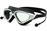 WATERINJOY Panoramic View Swim Goggles, 100% UV Protected Anti-Fog Anti-Shatter Swimming Glasses, Siamese Ear Plugs, Rigid Plastic Frame, Soft Silicone Seal, Adj. Strap, Men/Women, Black & White