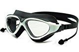 WATERINJOY Panoramic View Swim Goggles, 100% UV Protected Anti-Fog Anti-Shatter Swimming Glasses, Siamese Ear Plugs, Rigid Plastic Frame, Soft Silicone Seal, Adjustable Strap, Men/Women, Black & White