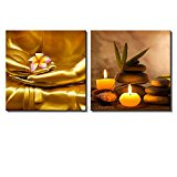 Wall26 - Two Piece Canvas - Copper Buddha Holding a Plumeria Along with Candles and Rocks on 2 Panels - Canvas Art Home Decor - 16x16 inches