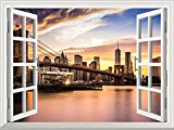 Wall26 Removable Wall Sticker / Wall Mural - Brooklyn Bridge at Sunset Viewed from Brooklyn Bridge Park | Creative Window View Home Decor / Wall Decor - 24