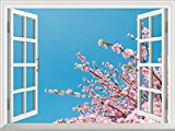 Wall26 Removable Wall Sticker / Wall Mural - Cherry Blossom/Sakura Flowers under Blue Sunny Sky | Creative Window View Home Decor / Wall Decor - 36