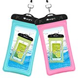 Waterproof Case, 2 Pack iOrange-E Clear Universal TPU Waterproof Cell Phone Case, Transparent Dry Bag, Pouch for iPhone 7 6S Plus 5S, Samsung Galaxy S7 S6 edge, Note 5 4 Smartphone Beach - Blue, Pink