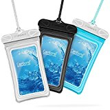 Waterproof Case, 3 Family Pack Cambond TPU Touch Friendly Universal Floating Waterproof Phone Case (up to 6 inch) Dry Bag Waterproof Pouch with Durable Lanyard, Dirtproof, Snowproof, Black Blue White