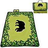 Waterproof Picnic Blanket - PolarSOFT Fleece - Bear Throw Rug - 60 x 78 inches - Foldable & Lightweight - Camo Fleece Blanket - Picnic Food Totes - 100% Satisfaction Guarantee
