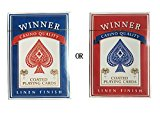 Winner Black Core Linen Finish Coated Poker Playing Cards, Pack of 1 Regular index (Red)