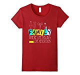 Women's Family Where Life Begins and Love Never Ends T-shirt Medium Cranberry