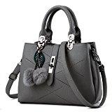 Women Handbag,Women Bag, KINGH Zip Closure Tote Vintage Shoulder Bag PU Leather 116 Gray