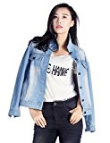Womens Fashion Denim Jacket Juniors Loose Casual Boyfriend Style With Light Blue Water Washed (L)