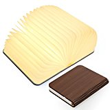 Wooden Folding Book Light, Magicfly USB Rechargable Book Shaped Light 4 Colors Led Desk Table Lamp for Decor, Magnetic Design- Creative Valentines gift