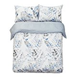 Word of Dream 250TC 100% Cotton Floral Print Duvet Cover Sets 3 PC, Leaves Pattern, Full/Queen