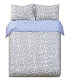 Word of Dream 250TC 100% Cotton Print Duvet Cover Sets 3 PC, Gray and White - Full/Queen