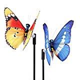 XJ Garden 2pcs-Pack Solar Lights Outdoor Butterfly Solar Garden Stake Decorations Light