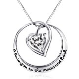 YFN Mom's Gift Sterling Silver You are the Only One in My Heart Crystal Pendant Necklace 18