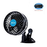 ZFLIN Car Fan Vehicle Fan Adjustment Suction Cup Car Auto Cooling Air Fan Powerful Quiet Stepless Speed Change Rotatable 12V Car Fans Summer Cooling Air Circulator (Stepless 4.5