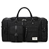 ZUMIT 45L Travel Duffel Bag Mens Womens Large Foldabling Luggage Water-resistant Super Lightweight Shoulder Suitcase Hodall Tote Handbag Brief Case Black #806-S