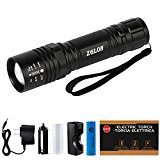 Zglon LED Flashlight Rechargeable Torch with Adjustable Zoomable Focus and 5 Light Modes Tactical flashlights