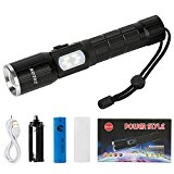 Zglon Ultra Bright LED Tactical Outdoor Rechargeable Flashlights with Zoomable Adjustable Focus, 7 Light Modes, USB Charging Cable, 18650 Battery, Lanyard - Multifunctional Tool