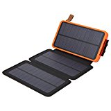 allimity Portable Solar Battery Charger 10000mAh Flip Solar Power Bank with 3 PCS Solar Panel 2 USB Charging Ports LED Flashlight for iPhone 7 Plus 6s Plus 5s iPad Samsung Sony LG