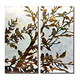 cubism-2 Piece Canvas Wall Art Golden Bird on Trees Oil Painting with Gold Foil on White Canvas For Living Room,Ready To Hang (20x40Inch x2 pcs)
