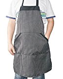 i COVER Classic Chalk-Strip Professional quality Commercial and Home Use Bib Apron, adjustable neck strap, long ties, big pocket, larger apron, heavier fabric, more durable AP101