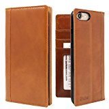 iPhone 7 Case -- iPulse Genuine Italian Full Grain Leather Handmade Flip Wallet Case For iPhone 7 - [Vintage Book Style ] [Built-in Stand] [Card Slots Holder] - Cognac