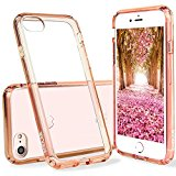 iPhone 7 Case Clear,ENDLER [Scratch Resistant] Acrylic Hard Clear Back Hybrid Bumper Case for Apple iPhone 7 (4.7 inch) With 4 Corns Air Pocket And DIY Photo Show Funtion (Rose Gold)