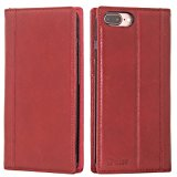 iPhone 7 Plus Case -- iPulse Genuine Italian Full Grain Leather Handmade Flip Wallet Case For iPhone 7 Plus( 5.5 inches) - [Vintage Book Style ] [Built-in Stand] [Card Slots Holder] - Wine Red