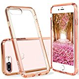 iPhone 7 Plus Case Clear,ENDLER [Scratch Resistant] Acrylic Hard Clear Back Hybrid Bumper Case for Apple iPhone 7 Plus (5.5 inch) With 4 Corns Air Pocket And DIY Photo Show Funtion (Rose Gold)