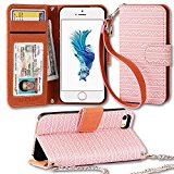 iPhone SE Wallet Case, ENDLER PU Leather Flip Wallet Case kickstand Case with Card Slots, shoulder strap wristlet and Magnetic Closure for Apple iPhone SE/5s/5-Rose Gold