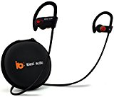 iblast audio Bluetooth Earbuds Best Wireless Headphone w/ Mic IPX7 Sweatproof Waterproof HD Stereo Earphone Running Workout Gym 8 Hour Long Battery Life Noise Cancelling Headset Comfortable Secure Fit