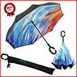 JW Lifestyle Creative Inverted Reverse Umbrella, Straight with C-shaped Handle & Carrying Bag, for Car use, Self Standing (Symphony)