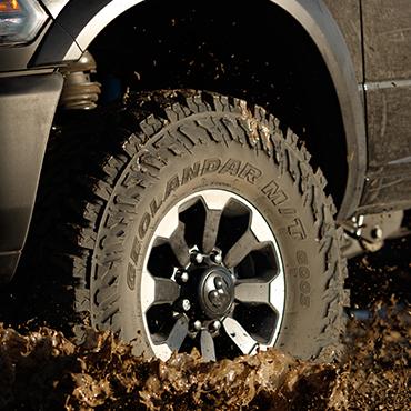 Five sets of four geolandar m/t g003(tm) mud terrain tires.