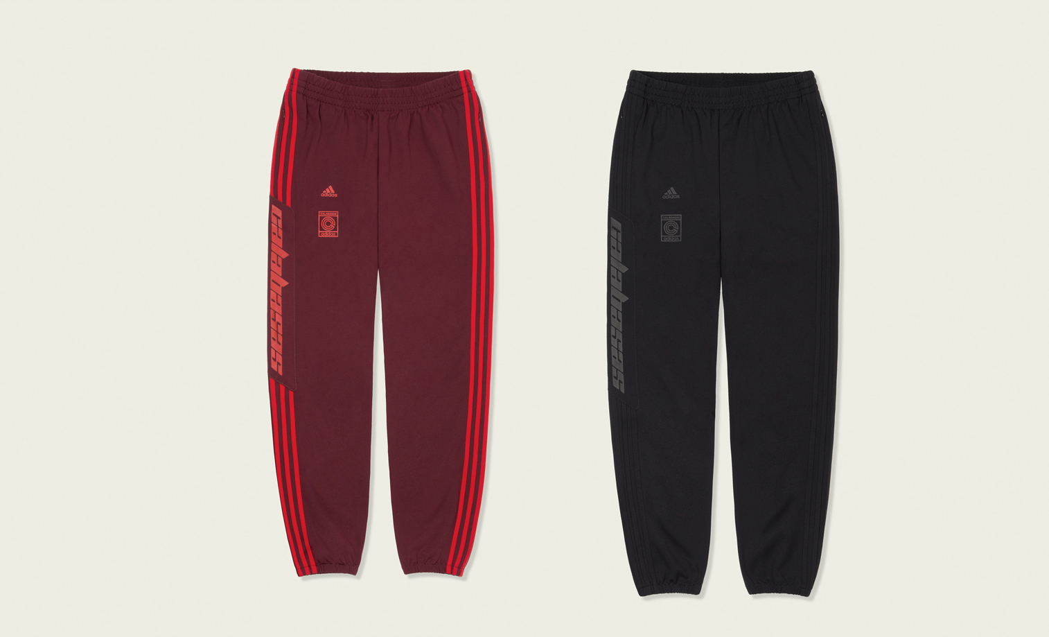 """c55a5ece Kanye West's Calabasas track pants will release at Shelflife (Joburg & Cape  Town) on Saturday, 02 December 2017 in two colorways – """"Maroon/Red,"""" and  """"Black ..."""
