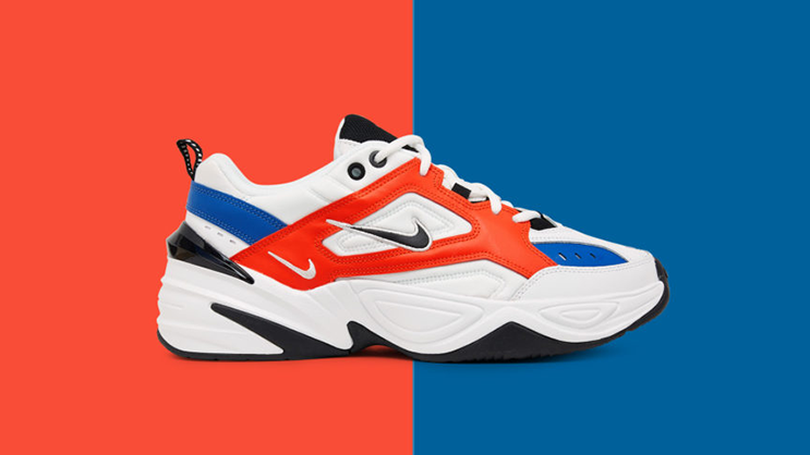 "a43d9f1900 Nike's new-styled dad shoe, the M2K Tekno will be releasing in a new  orange/blue/white/black iteration, unofficially dubbed the ""John Elliott""  colorway, ..."