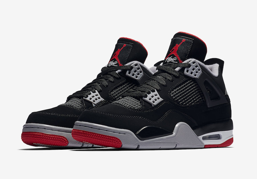 """outlet store da55f 5e823 Originally released back in 1999 with the OG branding then followed by the  2012 release with Jumpman Logo (back heel), now for 2019 the Air Jordan 4  """"Bred"""" ..."""