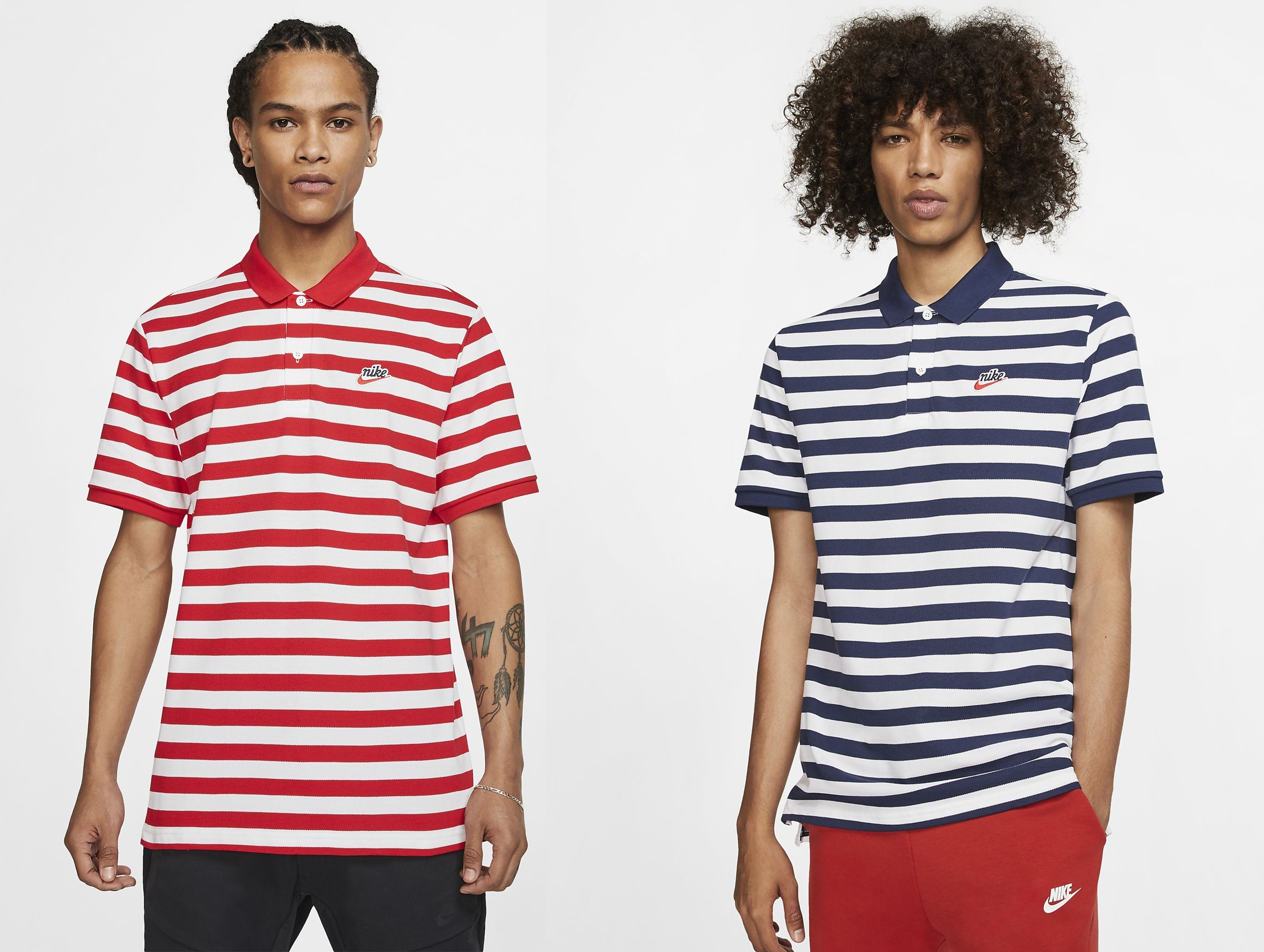 d2430bc3a5999 The Piqué Polo features White Stripes around the tee, crafted from soft  cotton fabric, with a fold-over collar and 2-button placket. The  embroidered Nike ...