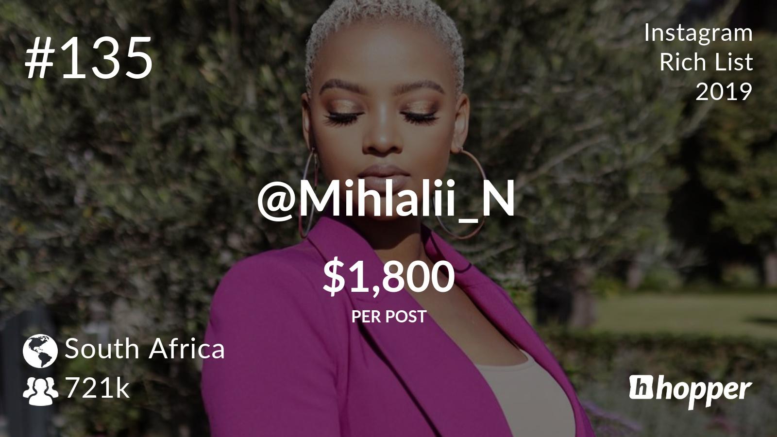 Mihlali Ndamase in the 2019 Instagram Rich List   YoMZansi