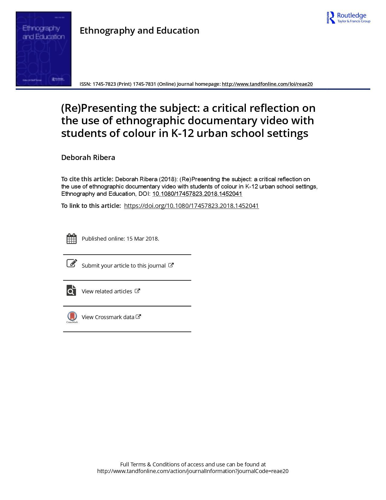 (Re)Presenting the subject: a critical reflection on the use of ethnographic documentary video with students of colour in K-12 urban school settings