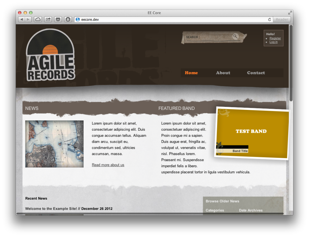 Agile records - Free ExpressionEngine theme
