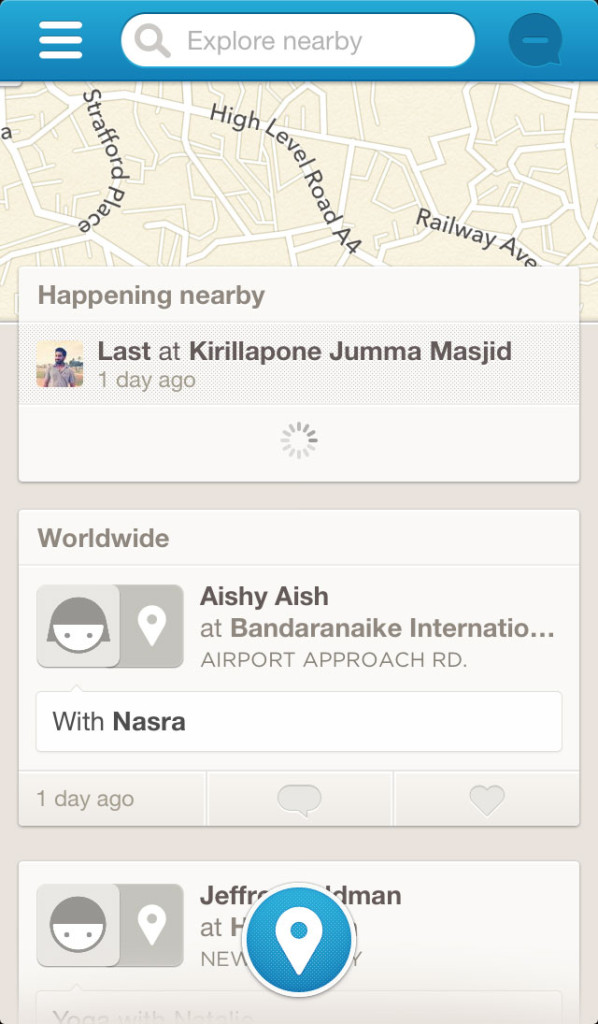 FourSquare iPhone App's navigation handler is in the left
