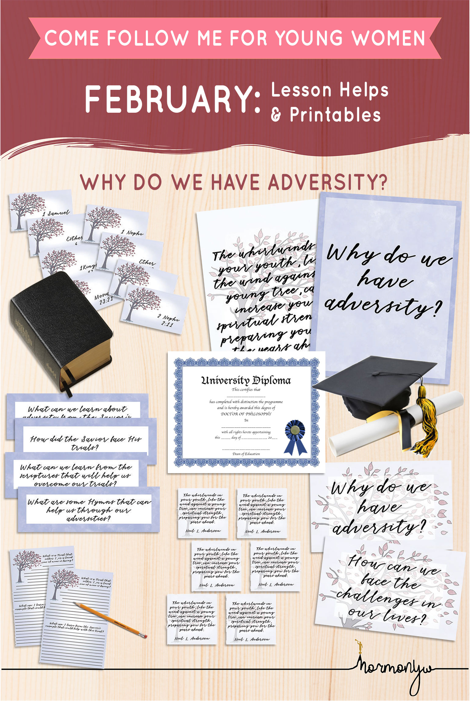Collage of lesson helps for Come Follow Me LDS Young Women Sunday lesson. February: The Plan of Salvation, Why do we have adversity?