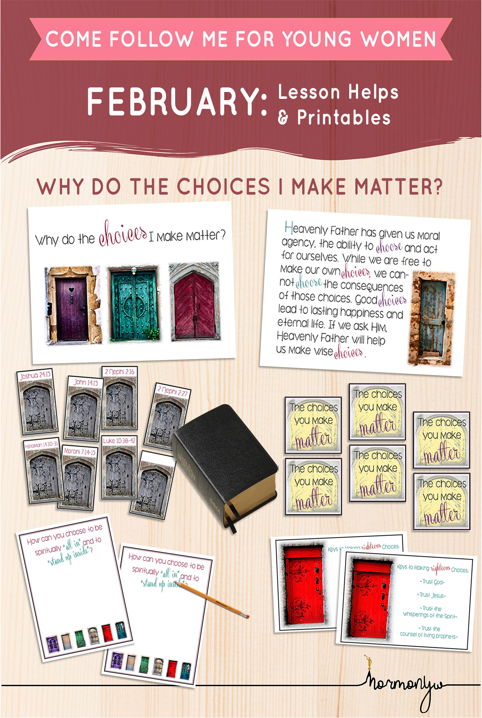 Collage of lesson helps for Come Follow Me LDS Young Women Sunday lesson. February: The Plan of Salvation, Why do the choices I make matter?