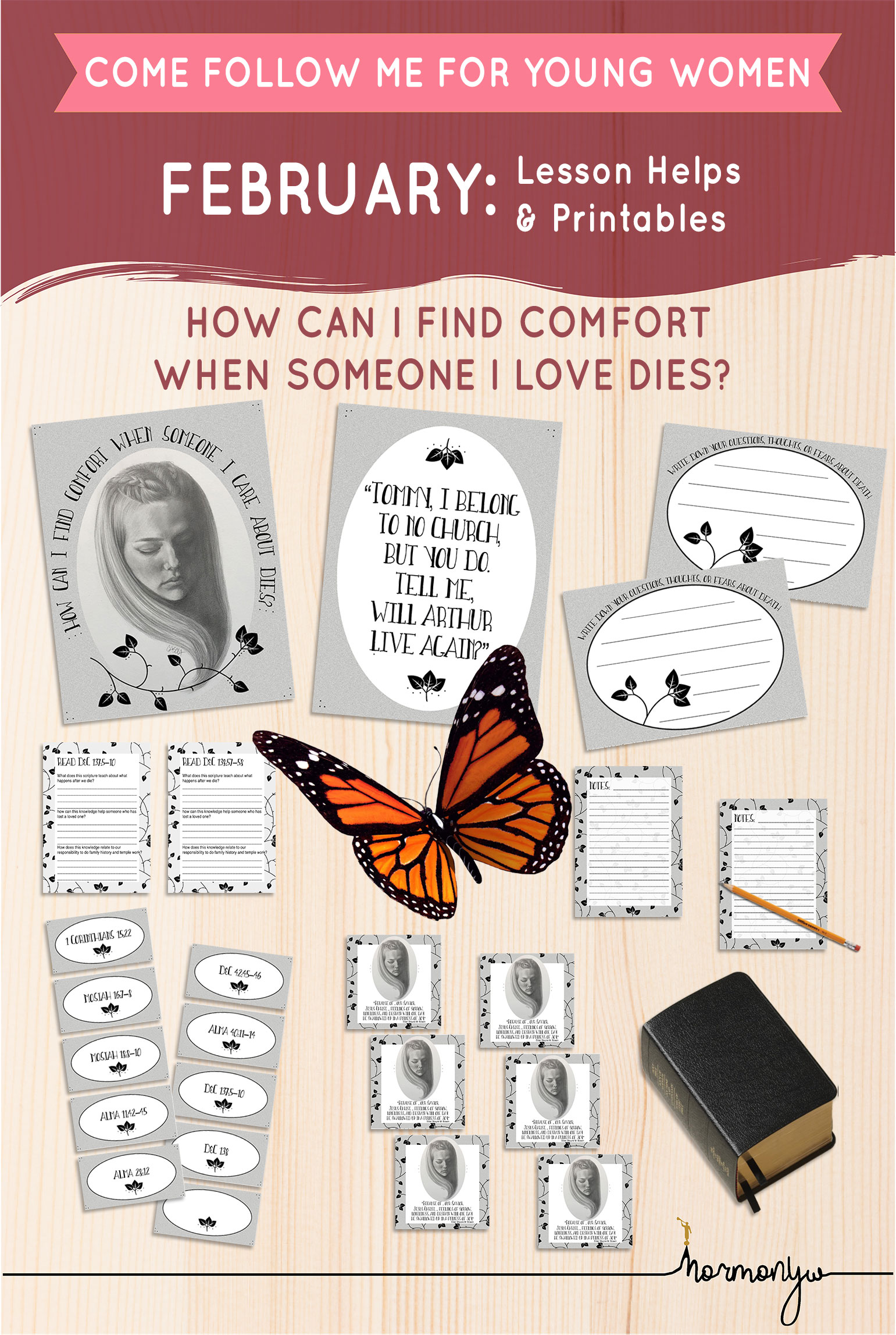 Collage of lesson helps for Come Follow Me LDS Young Women Sunday lesson. February: The Plan of Salvation, How can I find comfort when someone I care about dies?