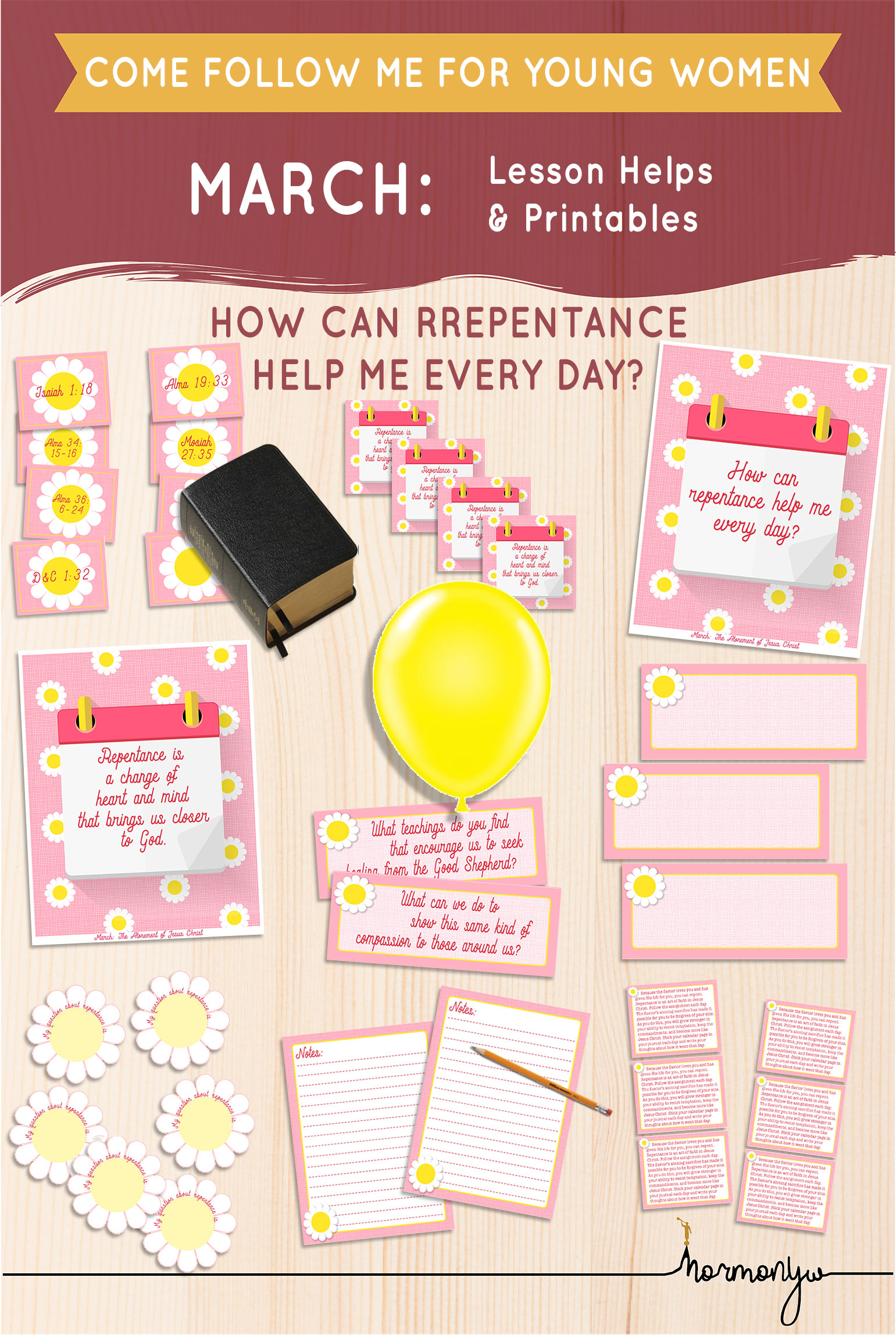Collage of lesson helps for Come Follow Me LDS Young Women Sunday lesson. , Lessons