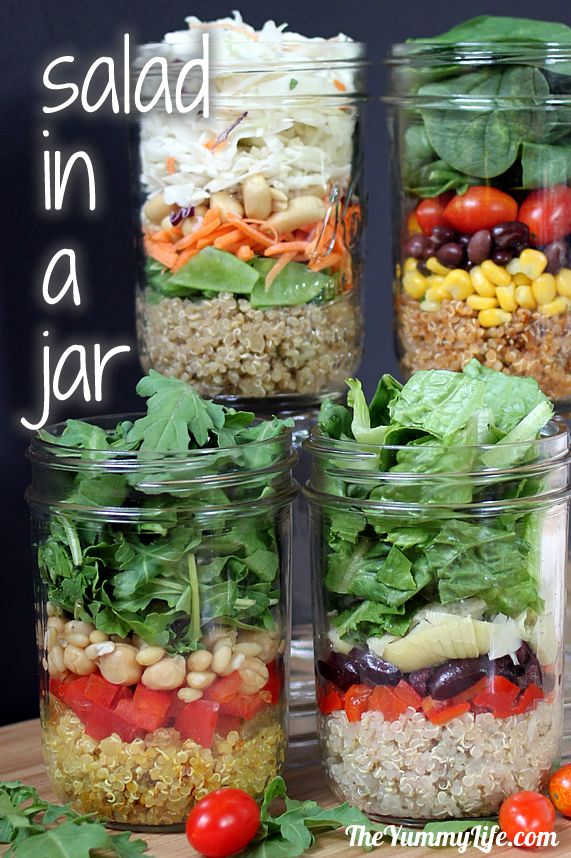Quinoa Salad-In-A-Jar in 4 International Flavors