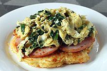 eggs florentine breakfast stack